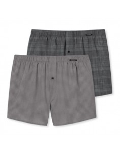 Schiesser Woven Boxershorts 2Pack Antraciet Checkered