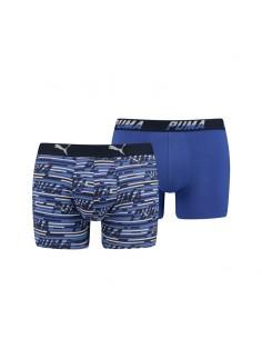 Puma Boxershort 2 pack Logo AOP Blauw