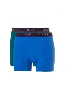 Ten Cate Men Fine Boxershort 2Pack Evergalde Groen en Daphne Blauw
