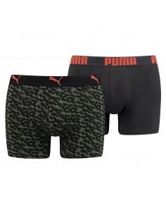 Puma Boxershort 2 pack Logo AOP Army Groen