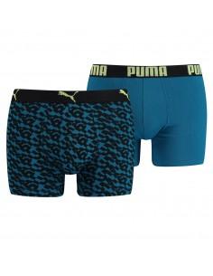 Puma Boxershort 2 pack Logo AOP Petrol Blauw