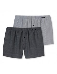 Schiesser Woven Boxershorts 2Pack Grey Stripes