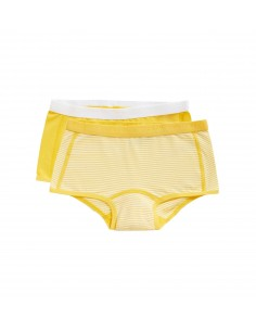 Ten Cate Meisjes Short 2Pack Stripe and Lemon Chrome 2-10Y Girls