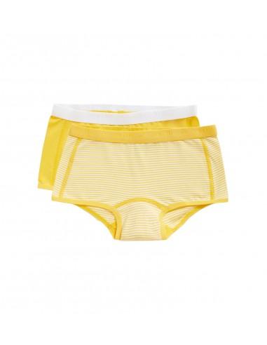 Ten Cate Meisjes Short 2Pack Stripe and Lemon Chrome 2-10Y Girls