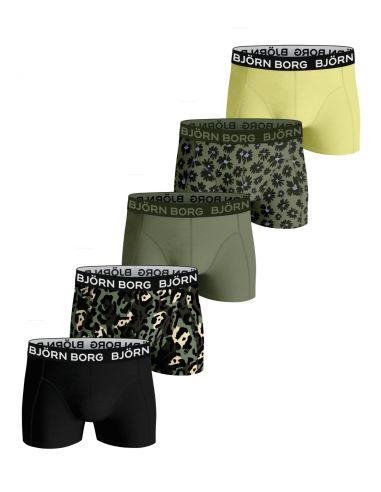 Bjorn Borg 5Pack Boys BB SAMMY Shorts FOURFLOWER Oil Green