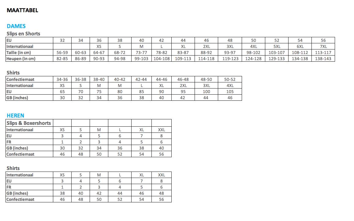Maattabel%20sloggi - Heren Broek Maat 46 Omrekenen